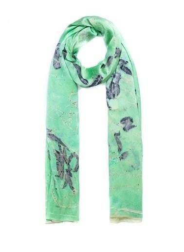 Silk and Cashmere Saf İpek Ekolojik Şal Yeşil
